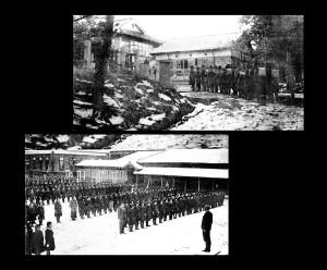 生徒の登校風景と全校集会(昭和18 年頃)